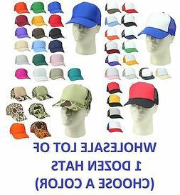 1 DOZEN Trucker Hat Baseball Caps Mesh Cap Blank Plain Hats