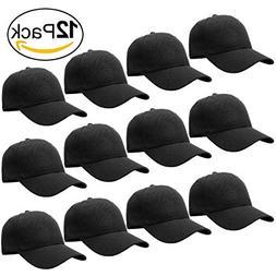 12-Pack Bulk Sale Plain Velcro Baseball Cap Adjustable Size