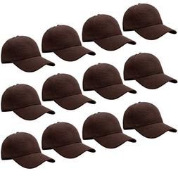 12-Pack Bulk Sale Plain Velcro Baseball Cap Adjustable Size