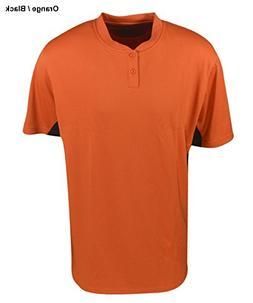 Mizuno Mens 2 Button Colorblock Jersey XL Orange-Black