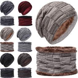 2Pcs Unisex Slouchy Winter Fleece Lined Knit Beanie Hat Neck