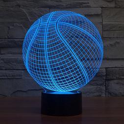 3D Table Lamp Round Basketball Shape Gift Acrylic Night ligh