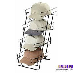 4 Tier Black Countertop Hat Display Holds 36-48 Caps Basebal