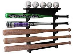 5 Baseball Bat Display Rack Wall Mount Shelf, Solid Wood, Bl