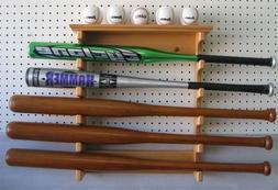 5 Baseball Bat Hanger Display Rack Holder, Solid Wood, Alter