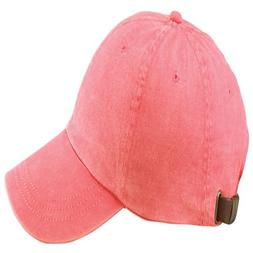 Adams 6-Panel Washed Pigment-Dyed Cap, Coral, OS