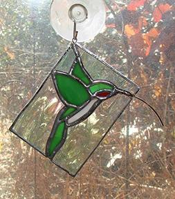 Ruby Throated Hummingbird Handmade Unique Stained Glass Sun