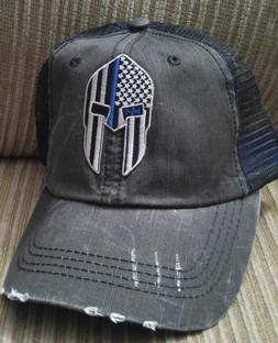 Spartan Helmet Thin Blue Line Baseball Ball Cap USA Flag Cot