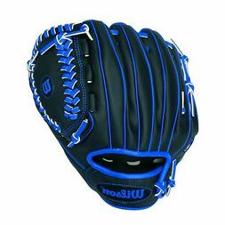 "Wilson A200 10"" Tee Ball Glove, Black/Blue - Right Hand Thro"