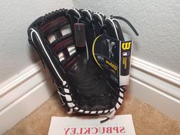 Wilson A2000 1799 SuperSkin Baseball Glove, Black/White/Red,