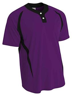 A4 N4229 Adult Two-Button Color Block Baseball Henley - Purp