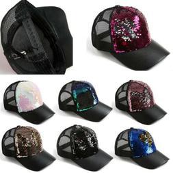 Adjustable For Girls Women Men Shining Baseball Hat Sequin G