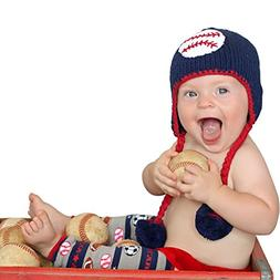 Huggalugs Baby and Toddler Boys Baseball Knit Beanie Hat Sma
