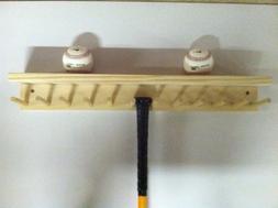 Baseball Bat Rack and Ball Holder Display Natural Finish Mea