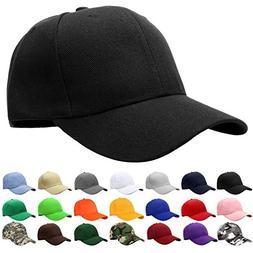Falari Baseball Cap Adjustable Size Solid Color G001-01-Blac