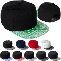 Baseball Cap Bandana Flat Brim Visor Hat Snapback Adjustable
