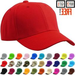 Baseball Cap Plain Blank Strapback Adjustable Solid Hat Polo