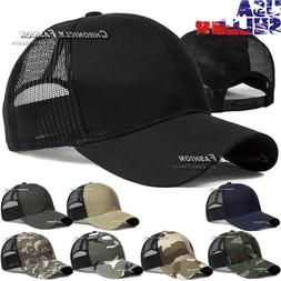 Baseball Cap Trucker Hat Snapback Solid Visor Mesh Back Plai