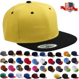Baseball Cap Two Tone Snapback Adjustable One Size Hat Flat