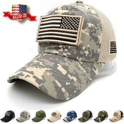 Baseball Cap USA American Flag Hat Detachable Mesh Tactical