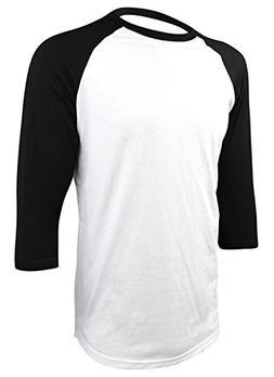 Enimay Men's Baseball Jersey 3/4 Sleeve Raglan Shirt White B
