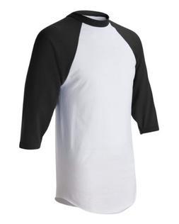 Augusta-Baseball Jersey Raglan 3/4 sleeves~White/Black~Adult