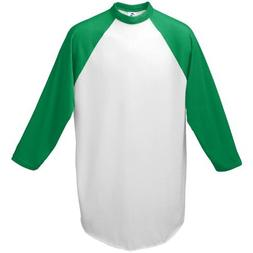 Augusta-Baseball Jersey Raglan 3/4 sleeves~White/Kelly Green