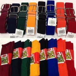 Baseball Softball Belt and Athletic Sock Combo XS - L Youth