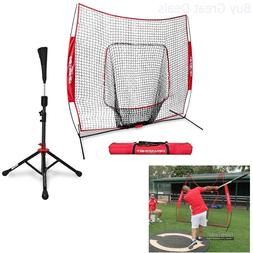 PowerNet Baseball Softball Practice Net 7x7 with Deluxe Tee