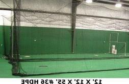Batting Cage Net 12' x 12' x 55' #42 HDPE Heavy Duty Basebal
