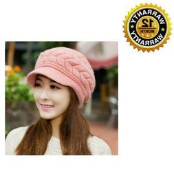 Beanie Cap Winter Warm Pink Slouchy Knitted Plush Wool Thick