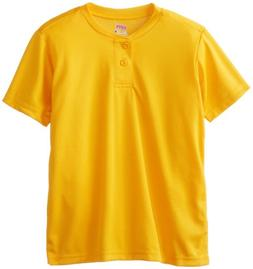 Soffe Big Boys' Dri Fit Baseball Henley, Light Gold, Medium