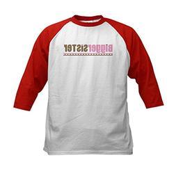CafePress - bigger sister pink brown Kids Baseball Jersey -