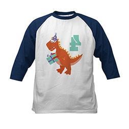 CafePress - 4th Birthday Dinosaur Kids Baseball Jersey - Kid