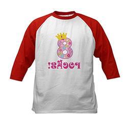 CafePress - 8th Birthday Princess Crown Kids Baseball Jersey