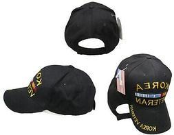 Black Korea Korean War Veteran Ribbon Baseball Hat Cap Embro