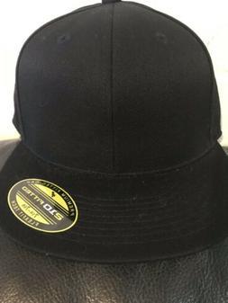 Black Solid Baseball Cap 7 1/4-7 5/8 Flexfit Tech