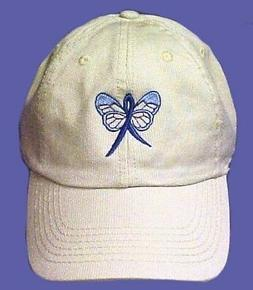 Blue Awareness Baseball Hat Ribbon Butterfly Stone Cap Colon