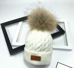 Brand New  Pom Children Winter Hat For Girls Hat Knitted Bea