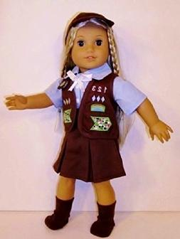 "Brownie Doll Uniform for 18"" Dolls or American Girl Doll PLU"