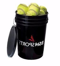 "BSN SPORTS Bucket w/ 2 DZ 12"" PRACTICE Softballs"