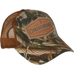 Browning Buckmark Logo Flexfit Baseball Cap Hat in Grey Sm/M