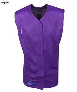 Mizuno Boy's Full Button Mesh Sleeveless Baseball Jersey, Pu