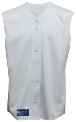Mizuno Boy's Full Button Sleeveless Baseball Jersey, Grey, X