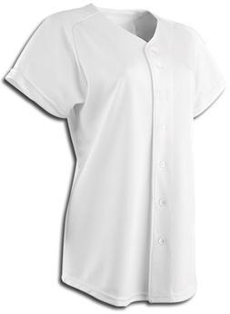 Rawlings Women's Full Button WJ170 Softball Jersey, White, X