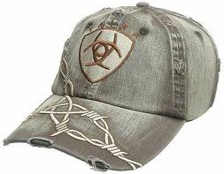 C-9802 Ariat Western Mens Cowboy Baseball Cap W/ Barbwire Em