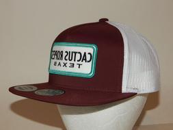 Hooey Cactus Ropes Texas Cap / Hat White Maroon / White Mesh