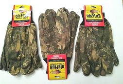 Buffalo Camo Jersey Work Gloves w/ Lining. 55% Ramie & 45% C