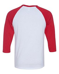 Canvas C3200 Unisex 3 By 4-Sleeve Baseball Tee - White & Red