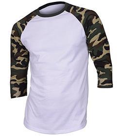 Dream USA Men's Casual 3/4 Sleeve Baseball Tshirt Raglan Jer